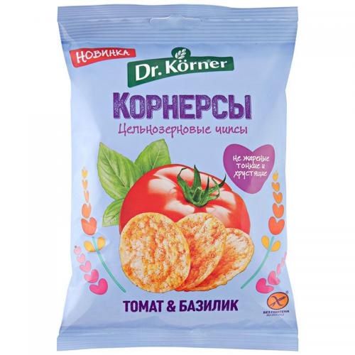 Цельнозерновые чипсы (корнерсы) Dr.Korner, томат и базилик (50 г)