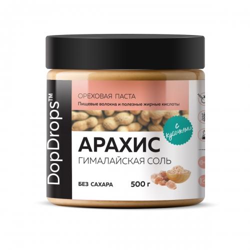 Паста Арахисовая Кранч с гималайской солью без сахара (500 г) DopDrops