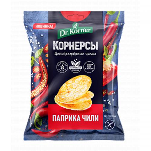 Цельнозерновые чипсы (корнерсы) Dr.Korner с паприкой и чили (50 г)