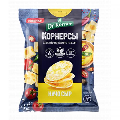 Цельнозерновые чипсы Dr.Korner с сыром начо (50 г)
