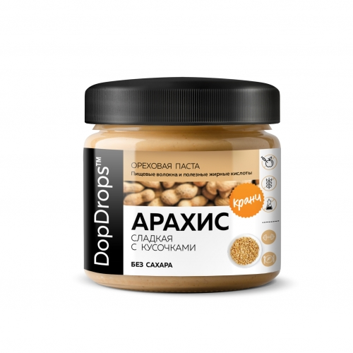 Паста Арахисовая Кранч  сладкая без сахара (150 г) Dopdrops