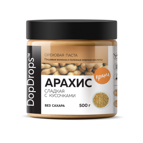 Паста Арахисовая Кранч сладкая без сахара (500 г) DopDrops