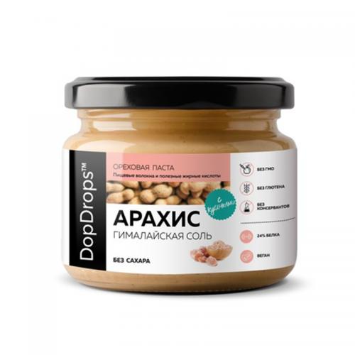 Паста Арахисовая Кранч с гималайской солью без сахара (250 г) DopDrops