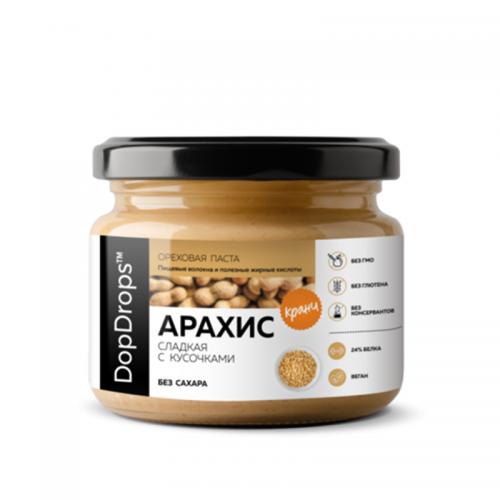 Паста Арахисовая Кранч сладкая без сахара (250 г) DopDrops