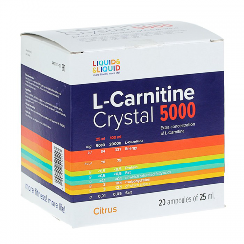 L-carnitine Crystal 5000 Liquid&Liquid (1 ампула, 25 мл)
