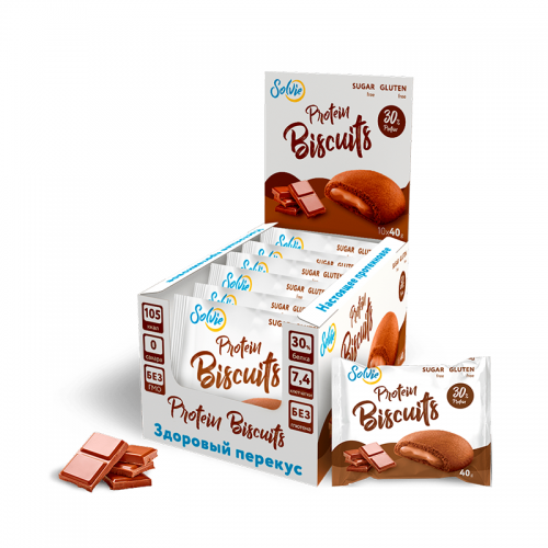 Protein Biscuits с белково-кремовой начинкой Solvie (40 г)